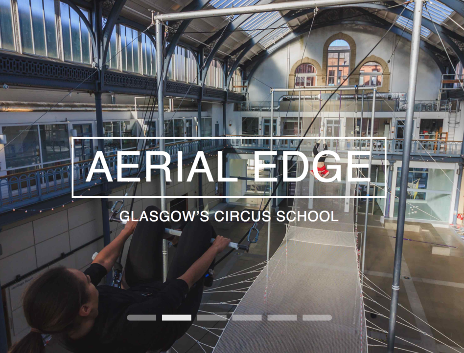 Image of the Aerial Edge logo with flying trapeze in the background