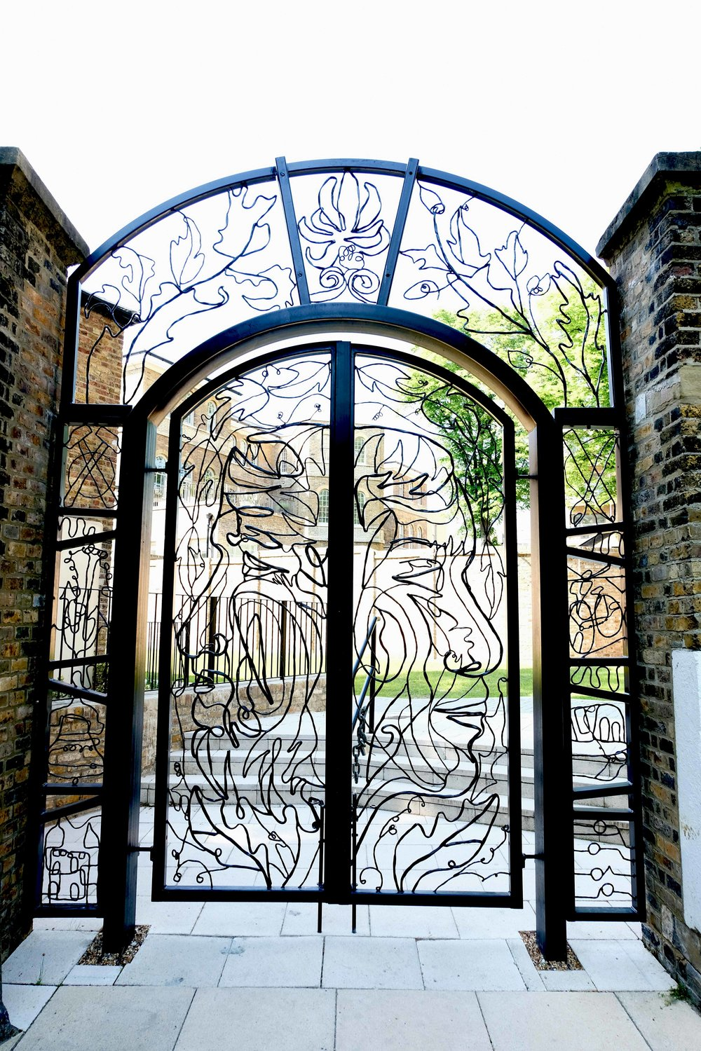 A photograph of an intricate iron gate made by Agnes Jones