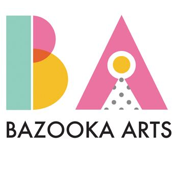 The Bazooka Arts Logo in light pink, green and yellow