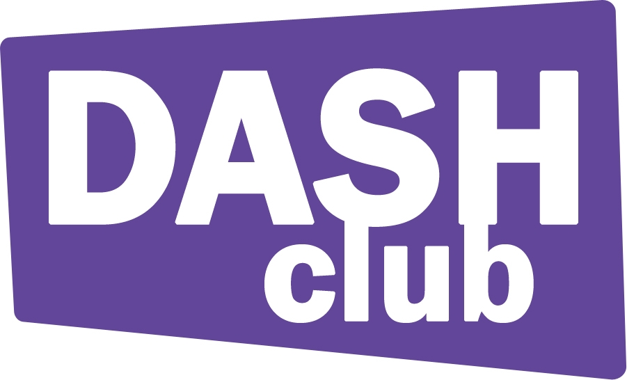 the dash club logo with purple geometric shape and white text.