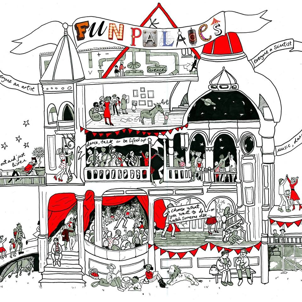 Linear illustration in black, white and red of a very busy palace with 'Fun Palaces' in different typography styles in banner at the top.
