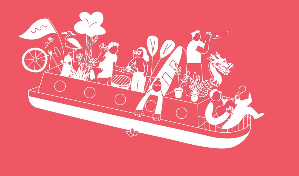 deep pink background with white line illustation of a canal boat with various people and plants on top.