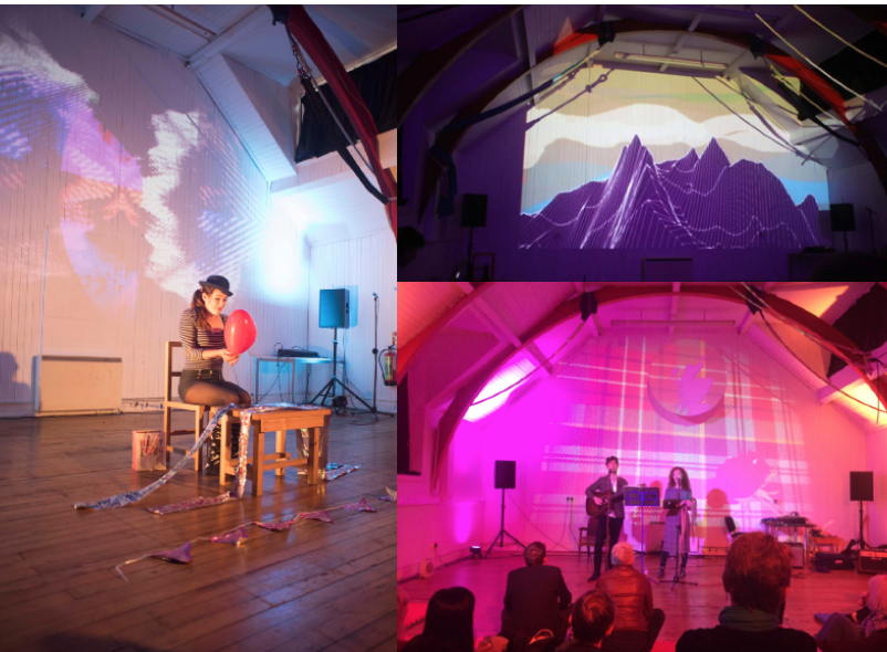 three images of the GTAC space and various sets and people performing or rehearsing within it.