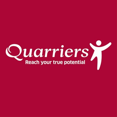 Quarriers logo in white text on deep red background with white figure with arms outstretched to the right of the text.