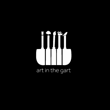 a black image with white logo for art in the gart