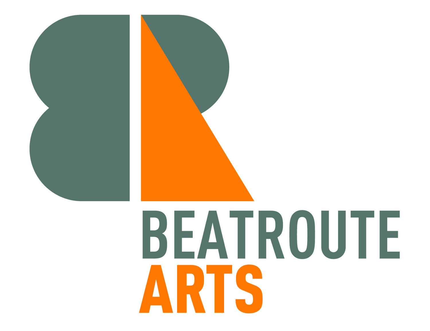 beatroute arts logo in grey and orange