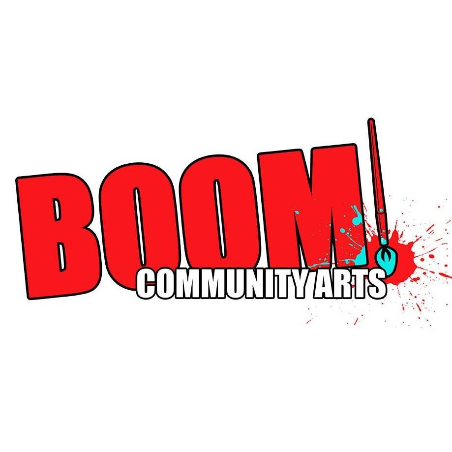 an image of Boom! Community Arts logo with bold red text and paintbrush as exclamation mark