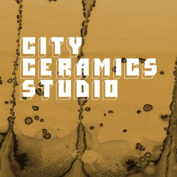 city ceramics studio logo in white text on brown background