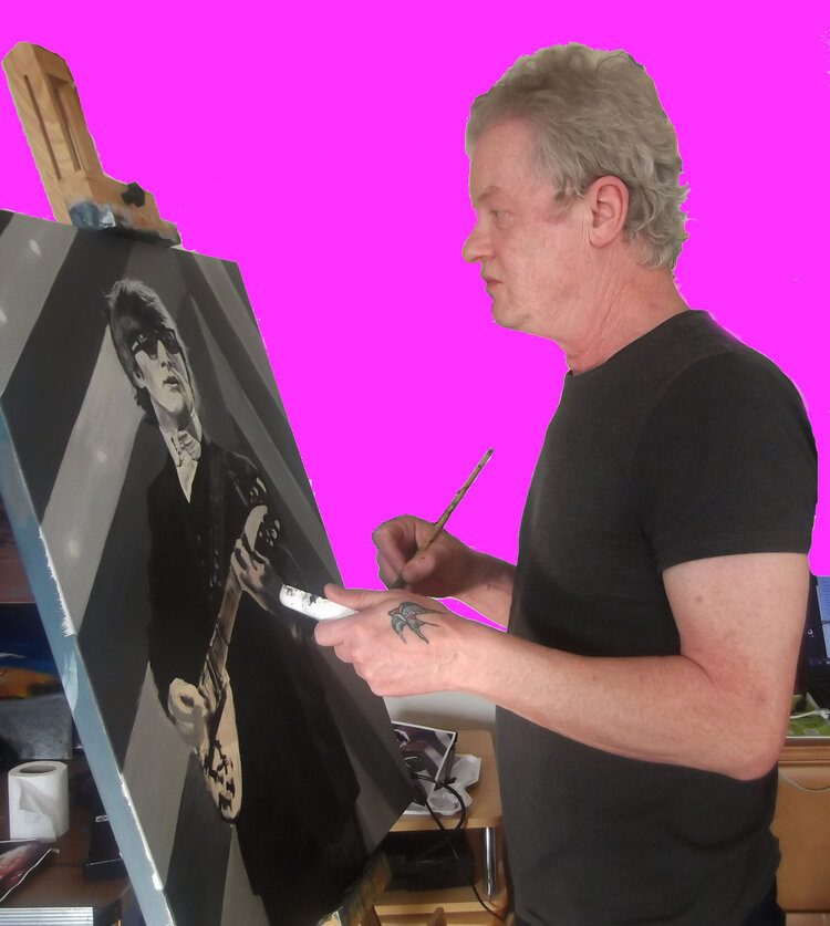 profile picture of ed side on against a pink background painting a black and white image of a musician on a canvas.