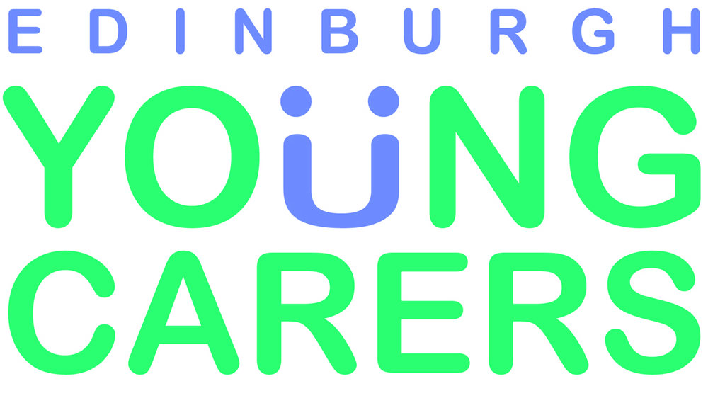 edinburgh young carers logo in purple and green text with white background.