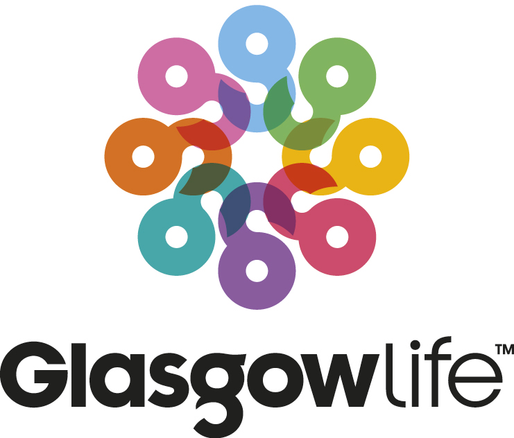 glasgow life logo with black text underneath multicoloured G's in a circle.