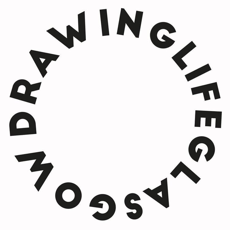 drawing life logo on white background with bold black text in a circle which says drawing life glasgow.