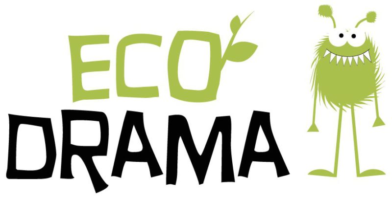 eco drama logo with eco in green and a leaf sprouting from the letter o, drama in black text and a green monster illustration to the right of the text.