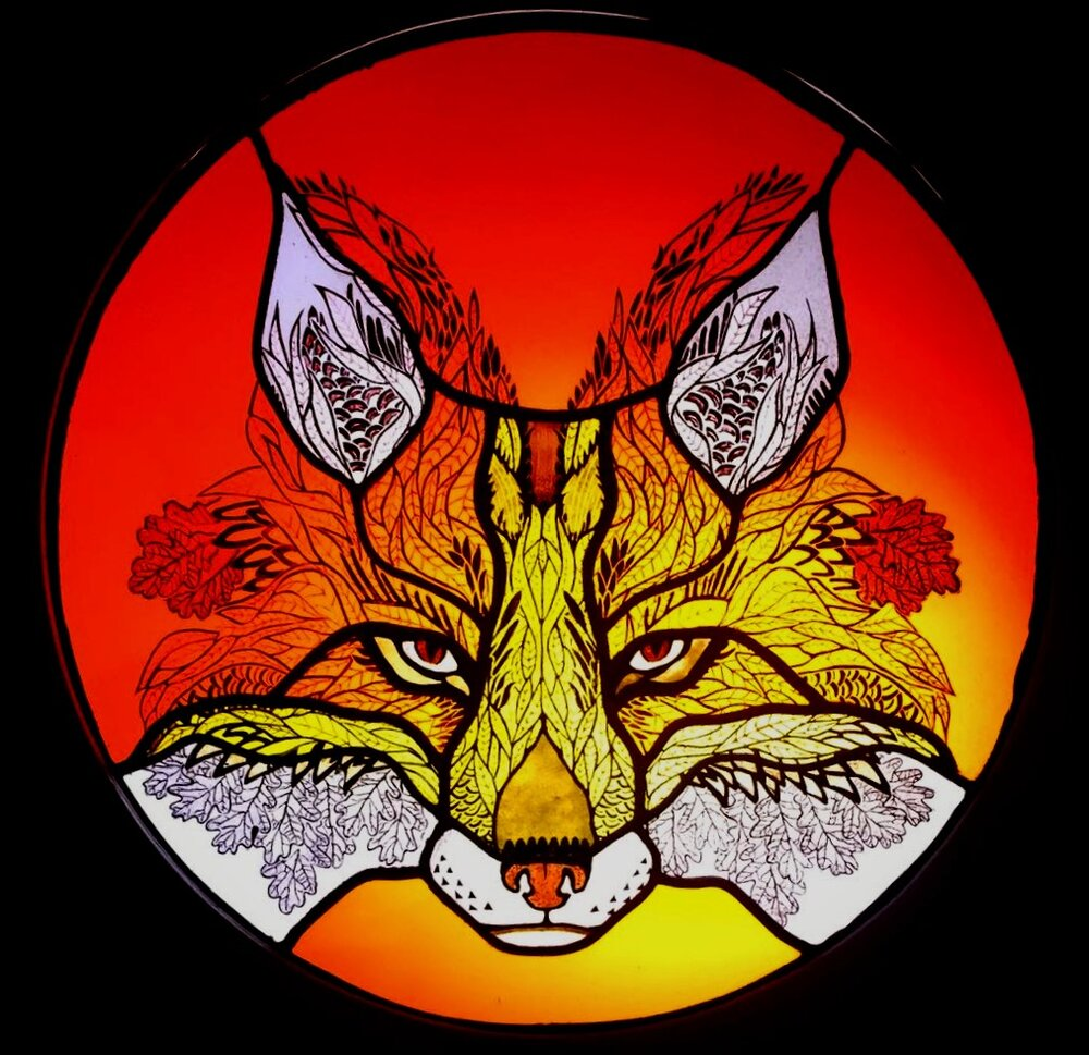illustration of a fox in fading red, orange and yellow colours with black outline.