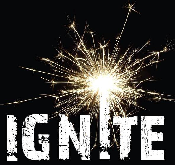 Ignite logo text in white with black background featuring a sparkler.