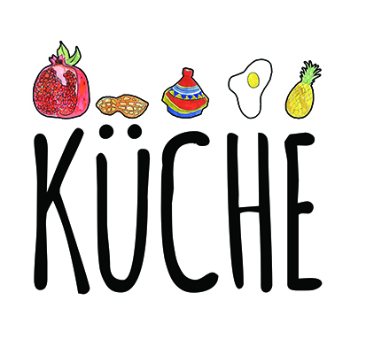 Kuche Logo in black text on white background with illustrations of various food above lettering.