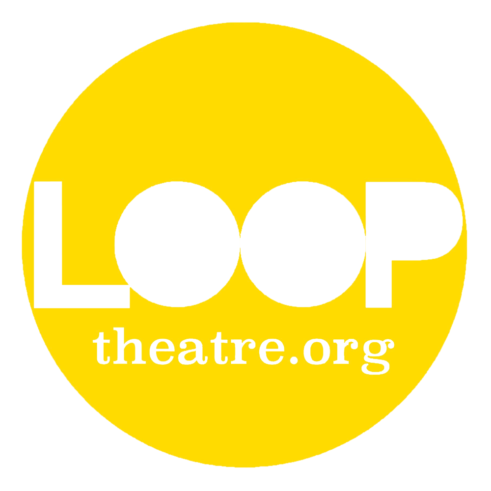 Loop theatre logo in white text on yellow circular background.