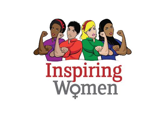 inspiring women logo showing 4 women of different ethnicities flexing their arms above Inspiring women text.