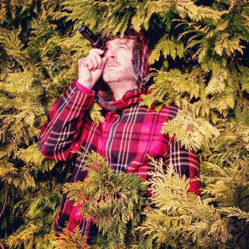 Matt Hulse amonsgt evergreen tree branches looking up through a lens.