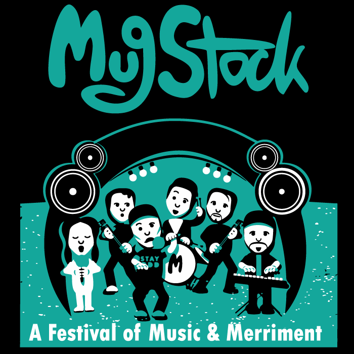 mugstock logo on black background with turquoise text and an image depicting performers under a stage with tagline 'A festival of music and merriment'.