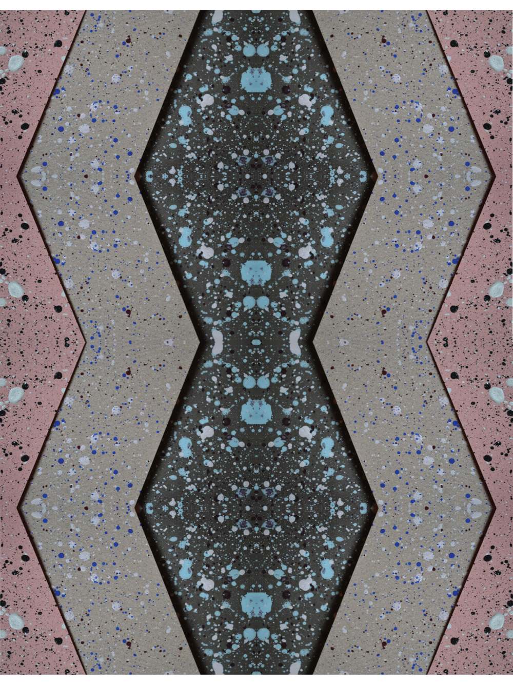 a zig zag and dotty design in pink and grey with blue dots.