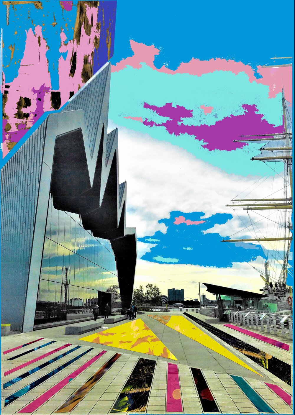 one of Cat's prints showing an abstract colourful version of the Riverside museum in glasgow.