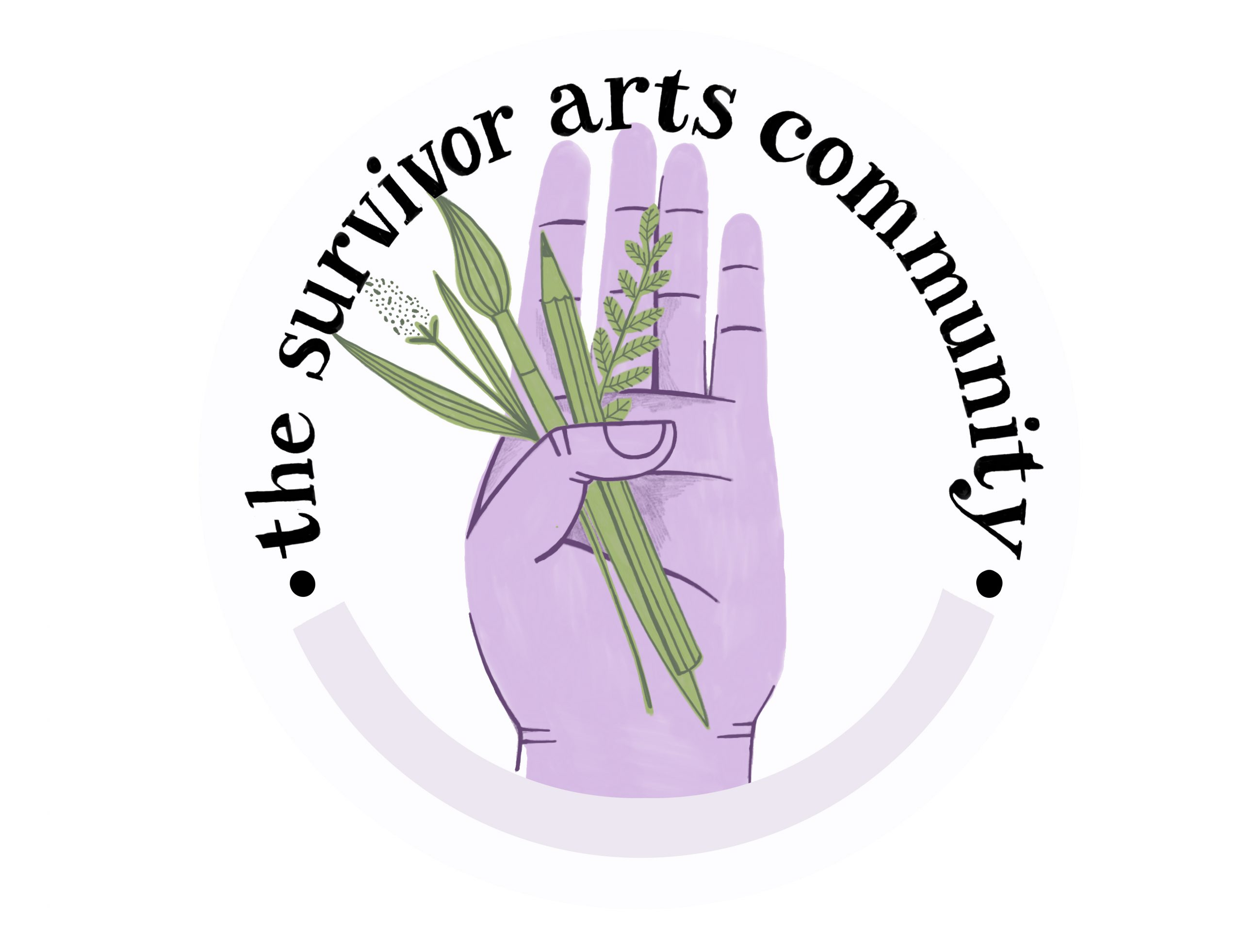 the survivor arts community logo with a purple illustration of a hand holding flowers.