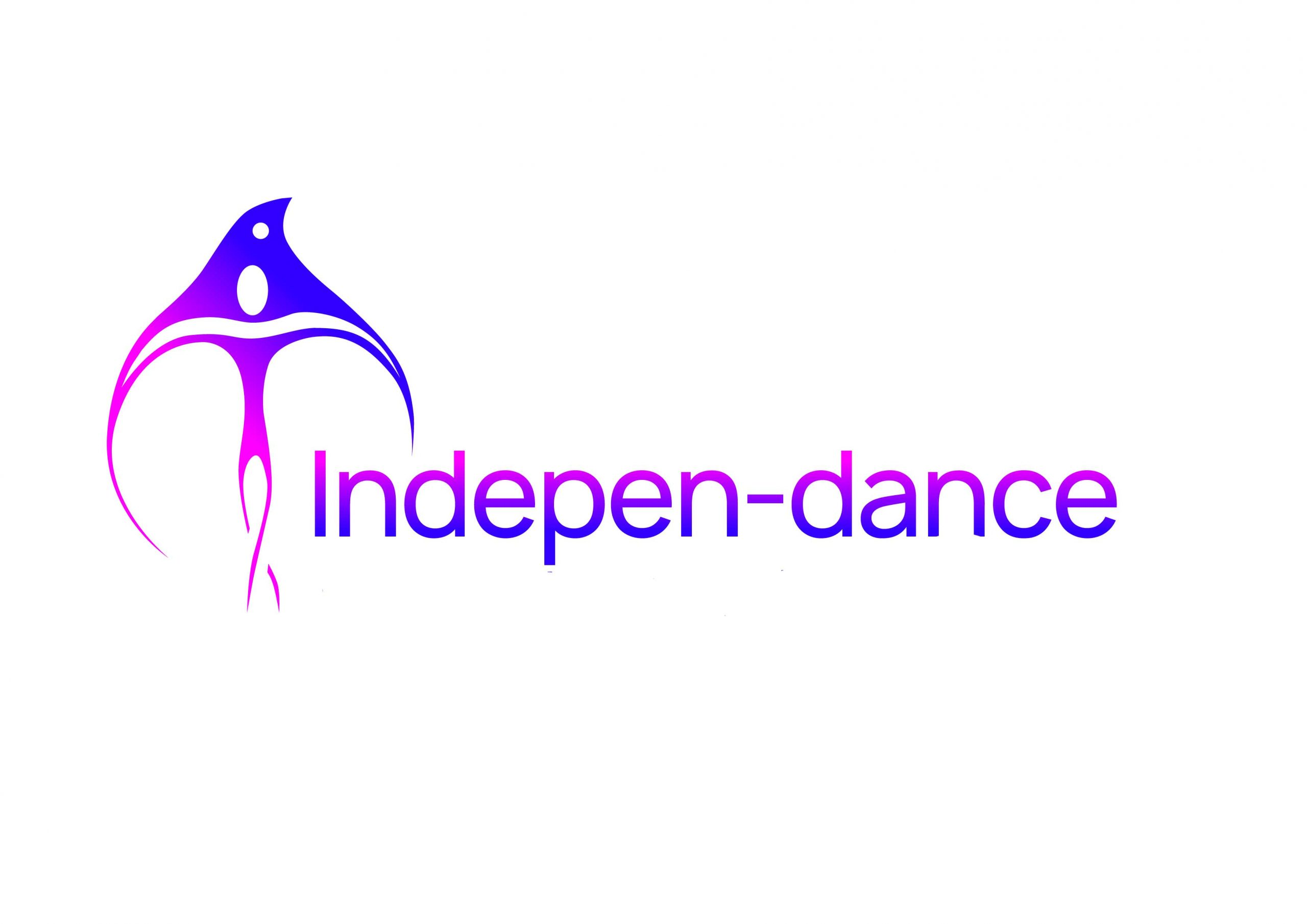 Indepen - dance logo in colours pink and purple.