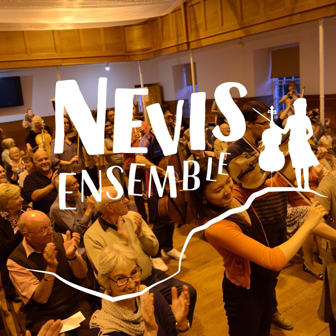 nevis ensemble logo against background of people at an event.