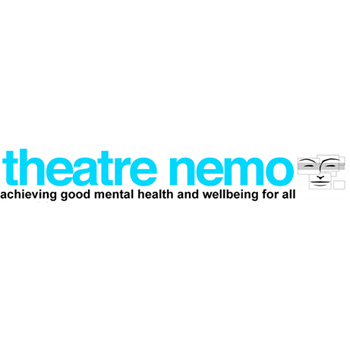 "Theatre Nemo logo with tagline ""achieving good mental health and wellbeing for all""."