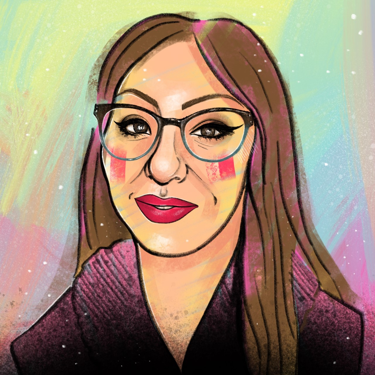 a portrait of a woman wearing glasses, in brightly coloured paints.