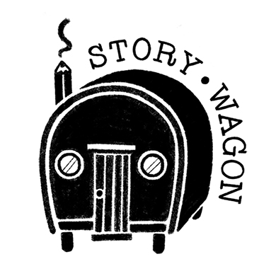 Story Wagon Logo featuring a black and white illustration of an old style wooden wagon.