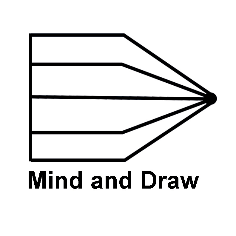 Mind and draw logo which is a black and white pencil.